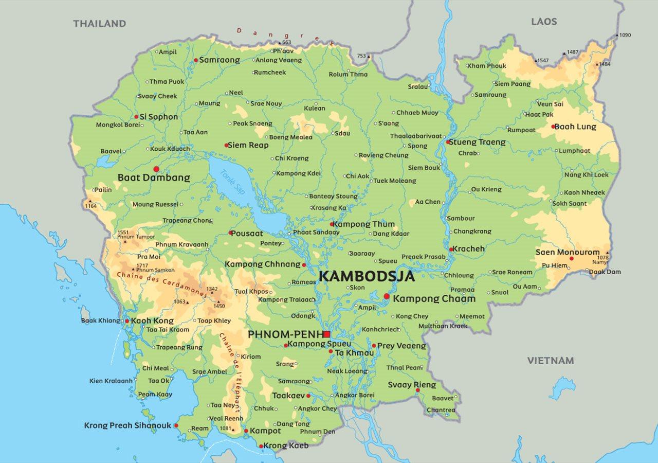kambodsja kart Kart Kambodsja: se blant anplasseringen av Phnom Penh kambodsja kart