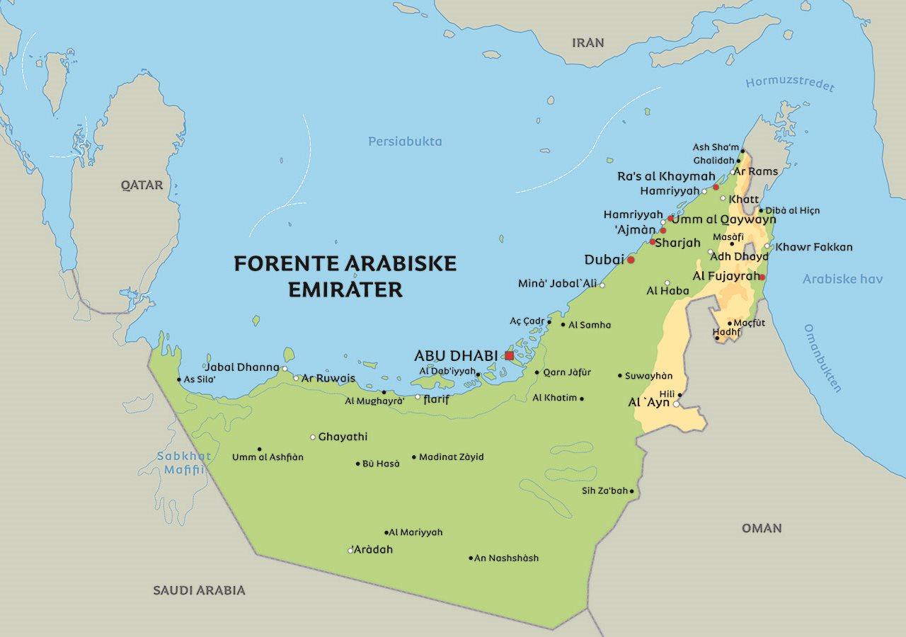 arabiske emirater kart Kart De forente arabiske emirater: Se bl.a. plaseringen av Dubai  arabiske emirater kart