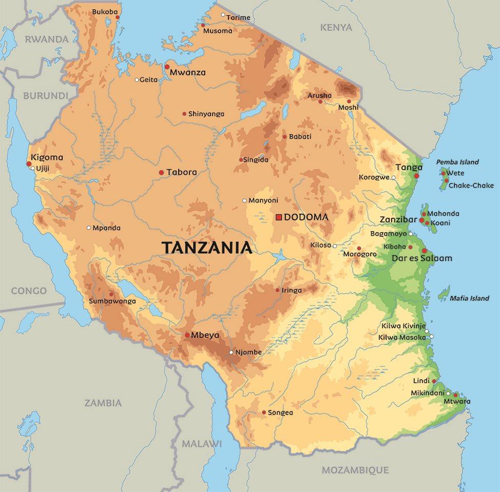 kart over tanzania Tanzania kart: Se de største byer i Tanzania, blant anDar es  kart over tanzania