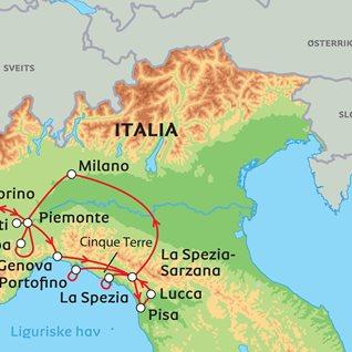portofino kart Piemonte og Liguria med Cinque Terre portofino kart