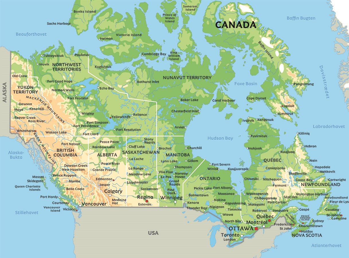 kart over canada Kart Canada: se bla. beliggenhet for Toronto og Vancouver kart over canada