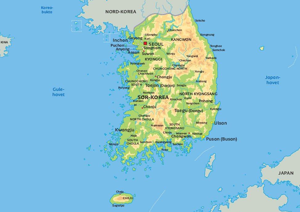 korea kart Kart Sør Korea: se bl.a. beliggenheten av hovedstaden Seoul korea kart
