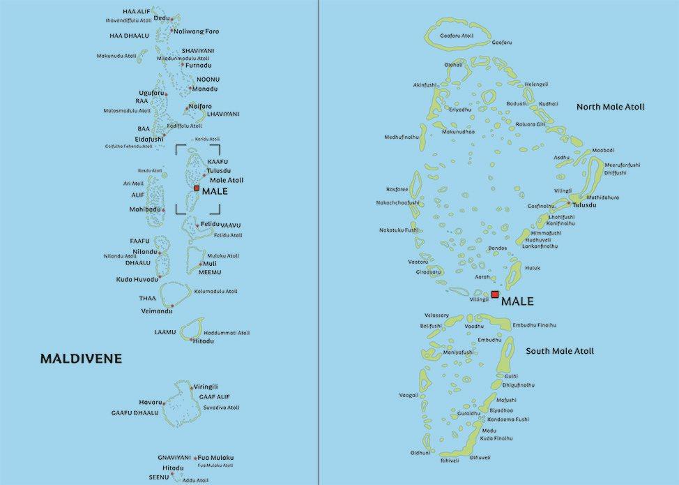 kart over maldivene Kart Maldivene: Se for eksempel beliggenhet for hovedstaden Malé kart over maldivene
