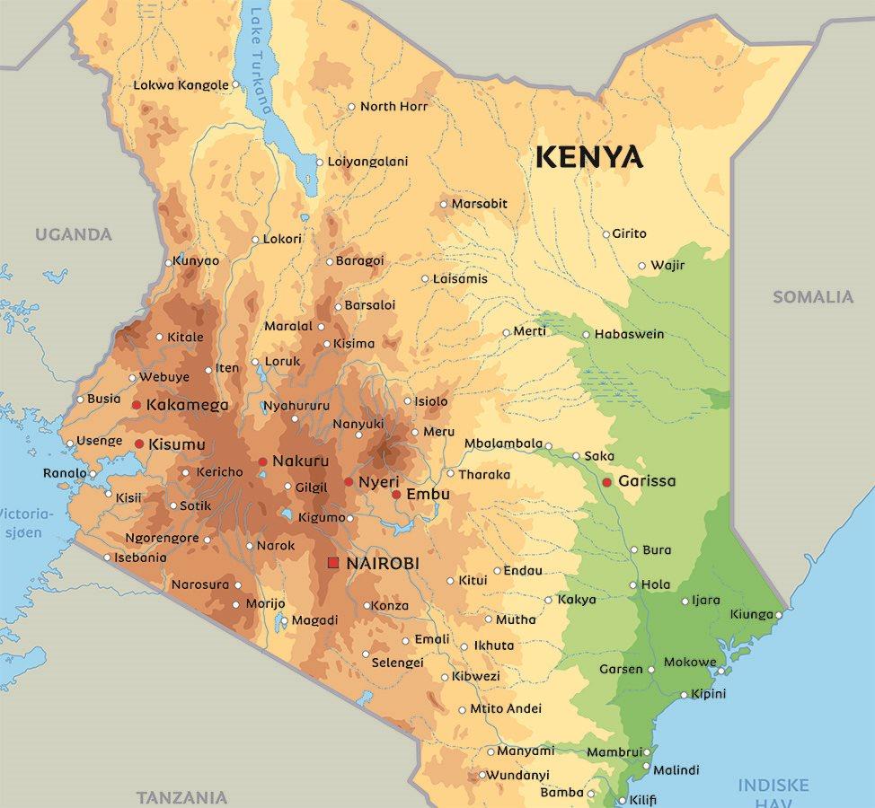 kenya kart Kart Kenya: Se de største byer og nasjonalparker i kenya på kart