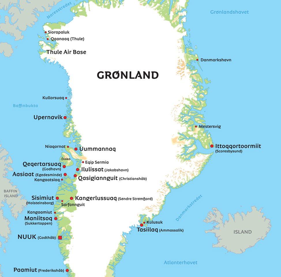 kart grønland Kart Grønland: Se bla. beliggenhet for Nuuk kart grønland