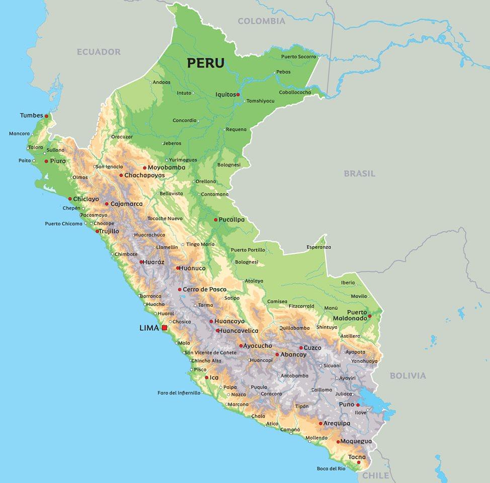 kart peru Kart over Peru: se bl.a. beliggenheten til hovedstaden Lima kart peru