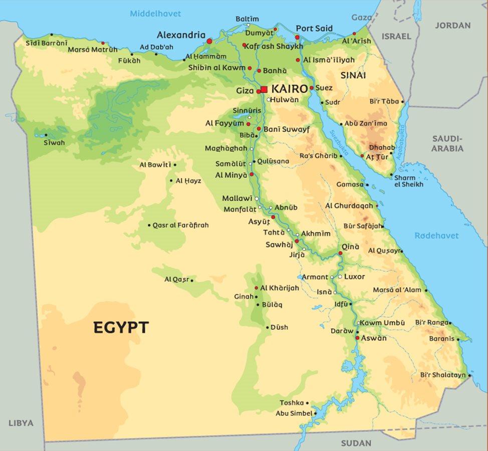kart over egypt Kart Egypt: Se blant anNilen og beliggenhet for hovedstaden Kairo kart over egypt