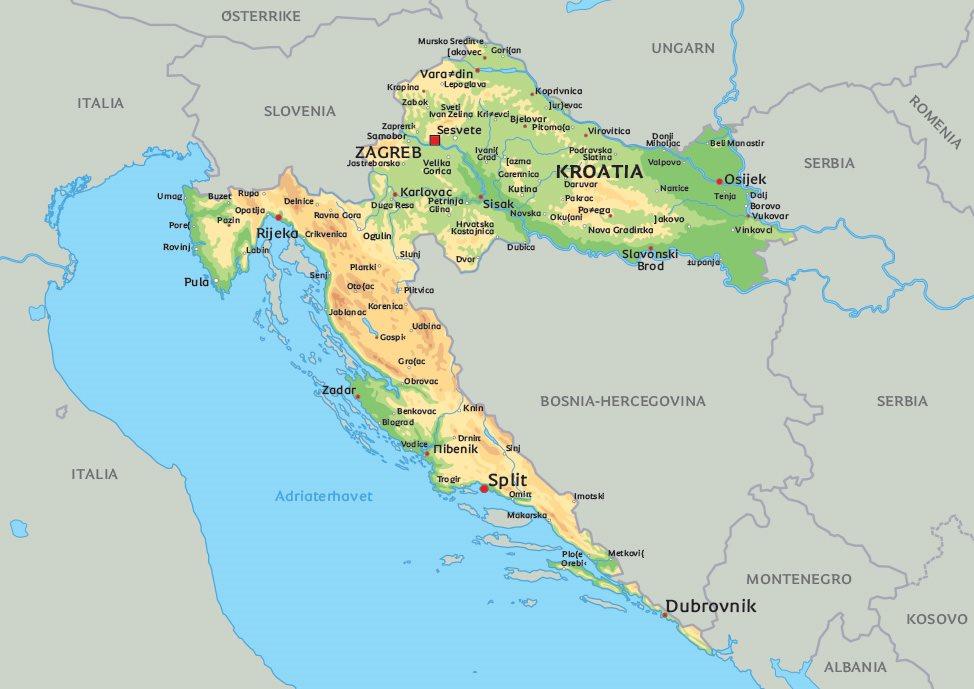 kart over kroatia Kart Kroatia: Se bl.a. beliggenhet for byene Split, Dubrovnik og  kart over kroatia