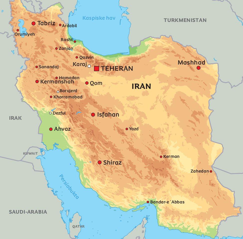 iran kart Kart Iran: se bl.a. plasseringen av Isfahan og Shiraz iran kart