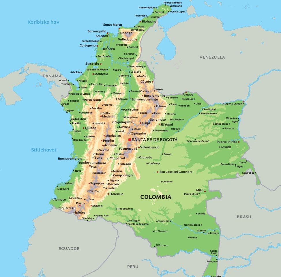 colombia kart Kart Colombia: Se de største byene   f.eks Bogota colombia kart