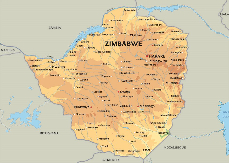 kart over zimbabwe Kart Zimbabwe: Se blant anplasseringen av Victoria Falls og  kart over zimbabwe