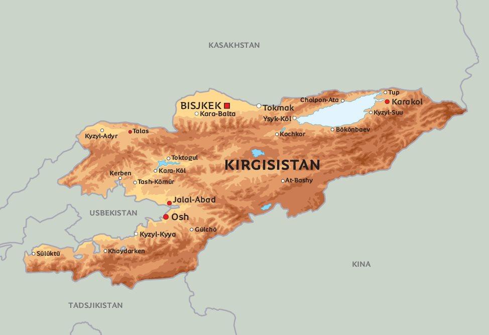 kirgisistan kart Kart Kirgisistan: Se de største byene i Kirgisistan på kart, bl.a  kirgisistan kart