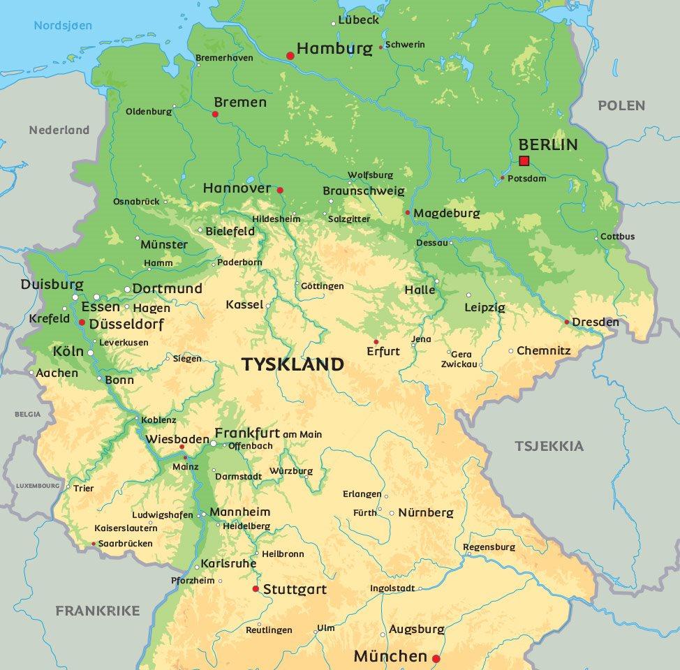 kart over tyskland Kart Tyskland: Se bl.a. hovedstaden Berlin kart over tyskland