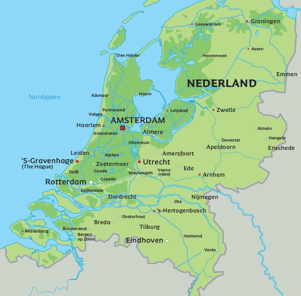 nederland kart Kart Nederland: se bl.a. beliggenhet for hovedstaden Amsterdam nederland kart