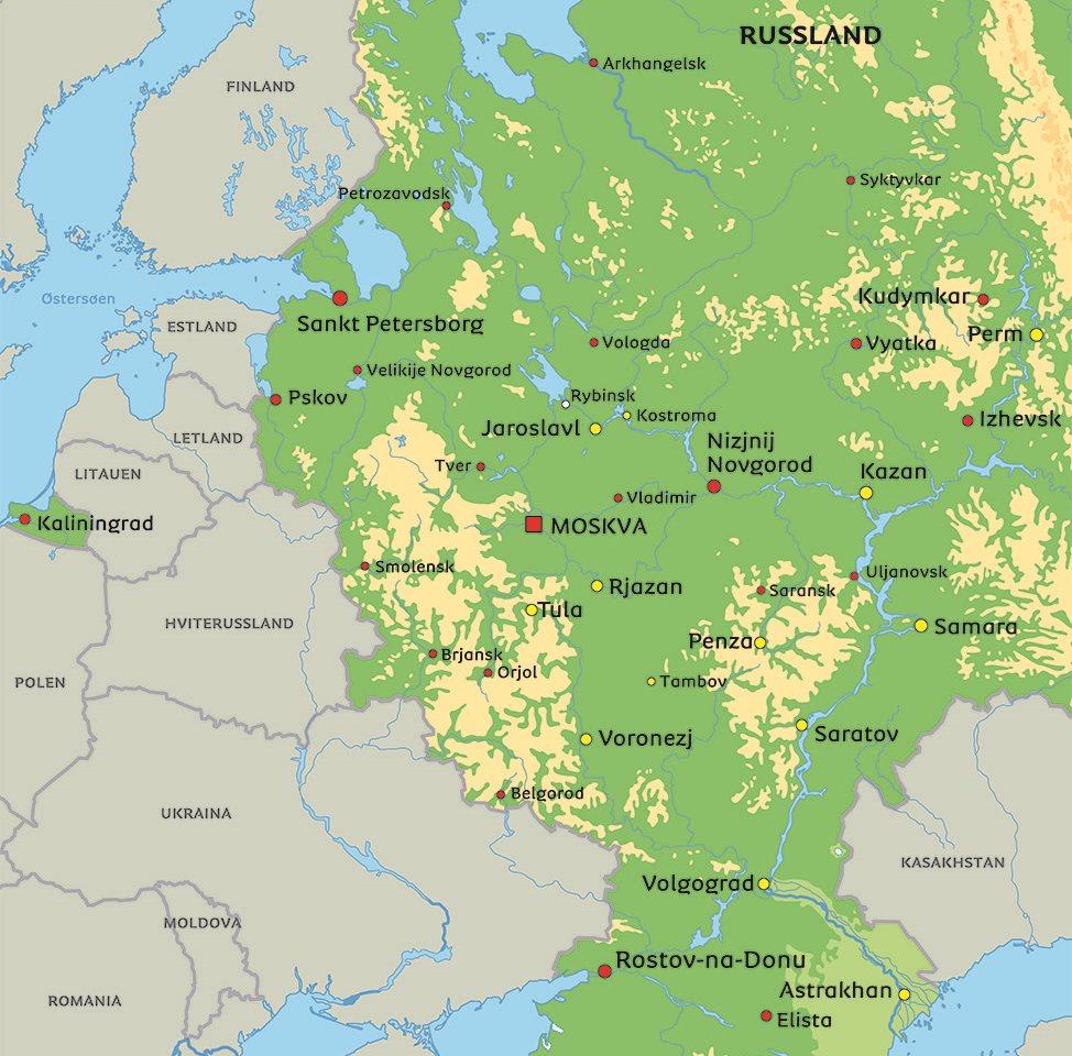 russland kart Kart Russland: se bl.a. beliggenhet for Moskva og St. Petersburg
