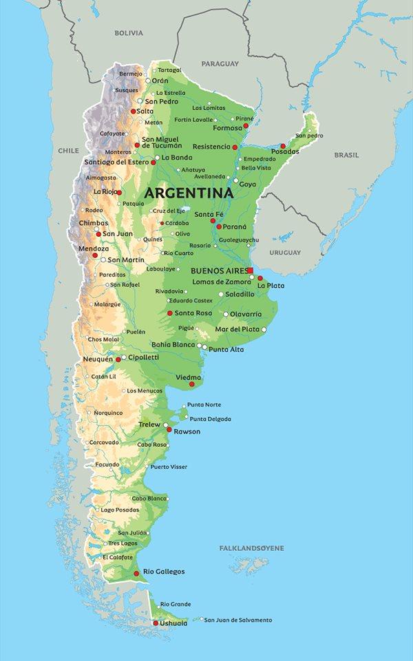 kart over argentina Kart Argentina: Se blant anplasseringen av Buenos Aires og Iguazu kart over argentina