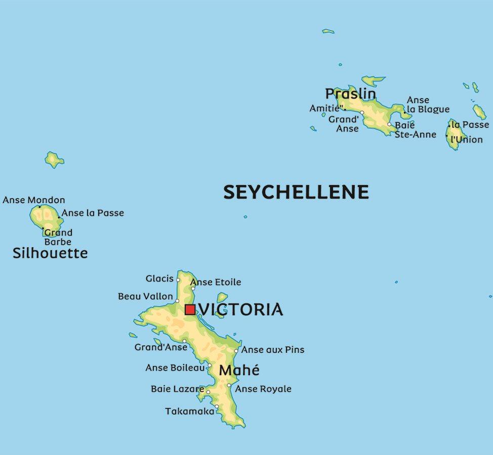 seychellene kart Kart Seychellene: Se for eksempel beliggenhet for hovedstaden Victoria seychellene kart