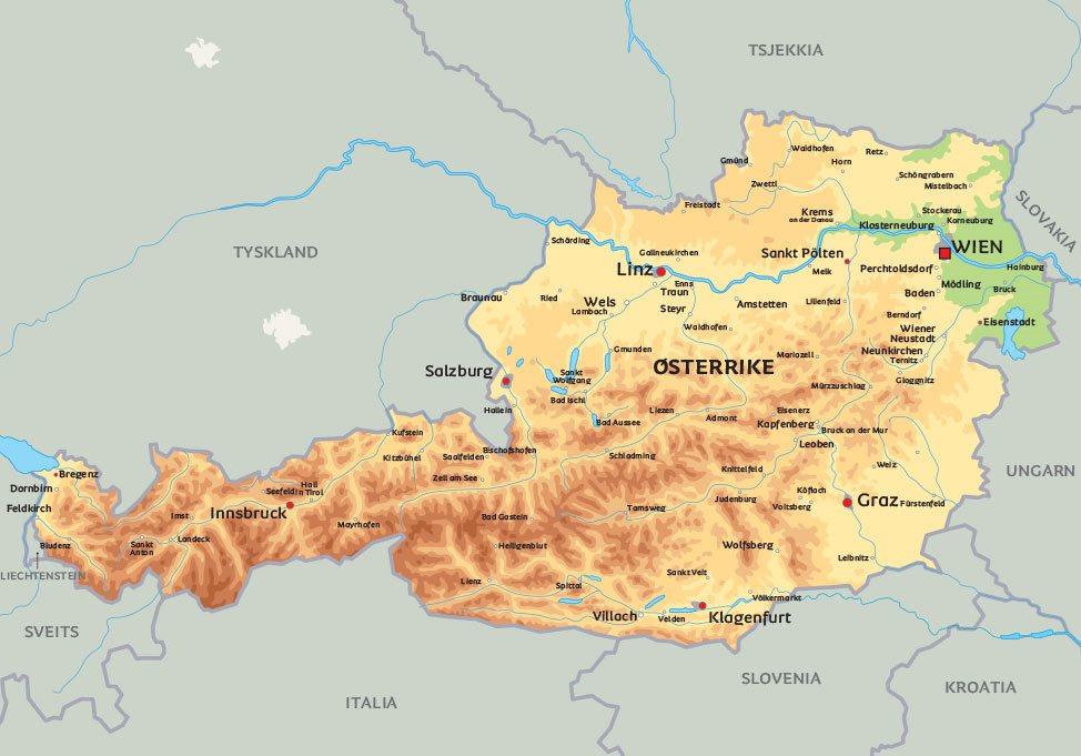 kart østerrike Kart Østerrike: se plasseringen av bl.a. hovedstaden Wien kart østerrike
