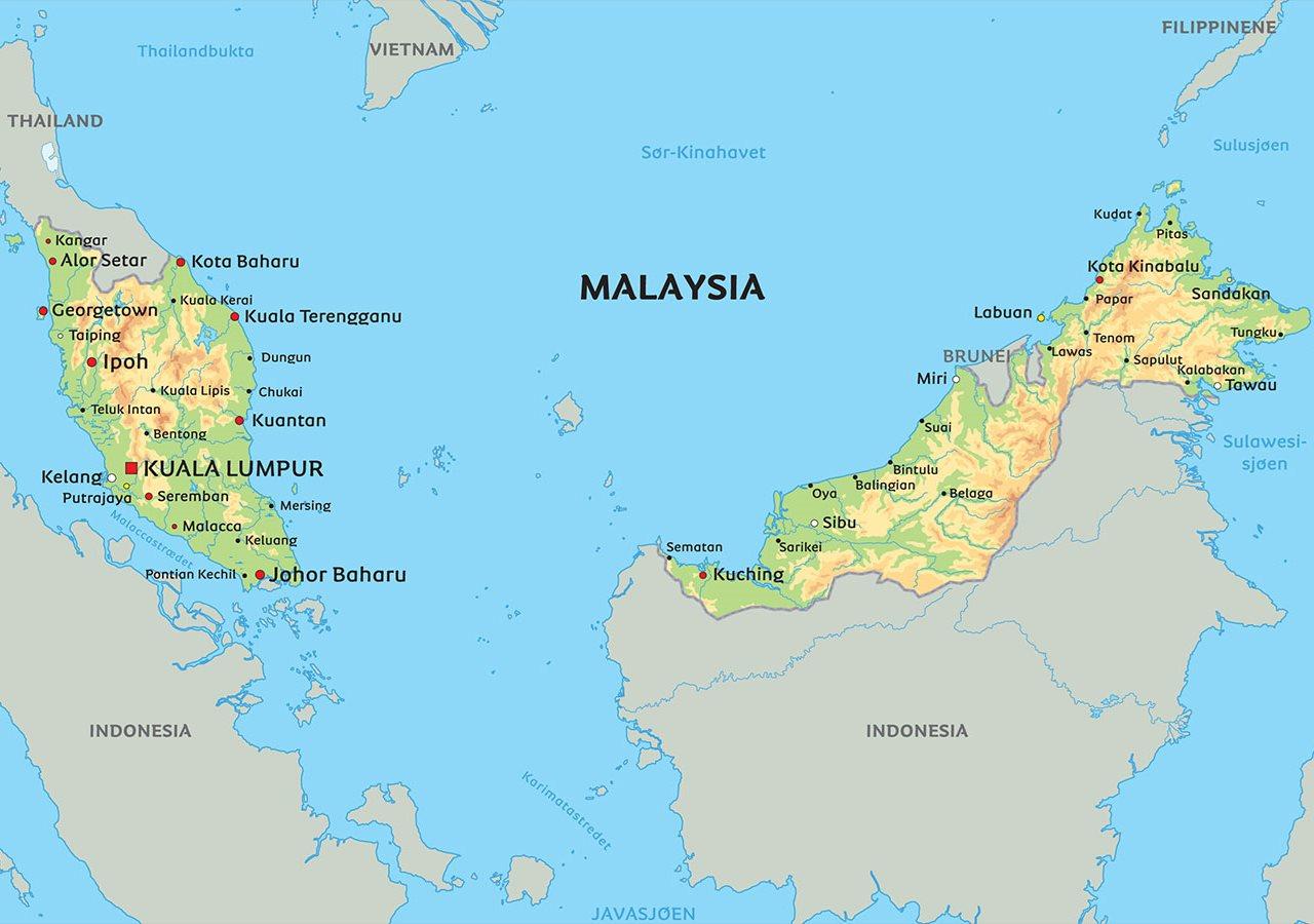 kart over malaysia Kart Malaysia: Se bla. beliggenhet for Kuala Lumpur kart over malaysia