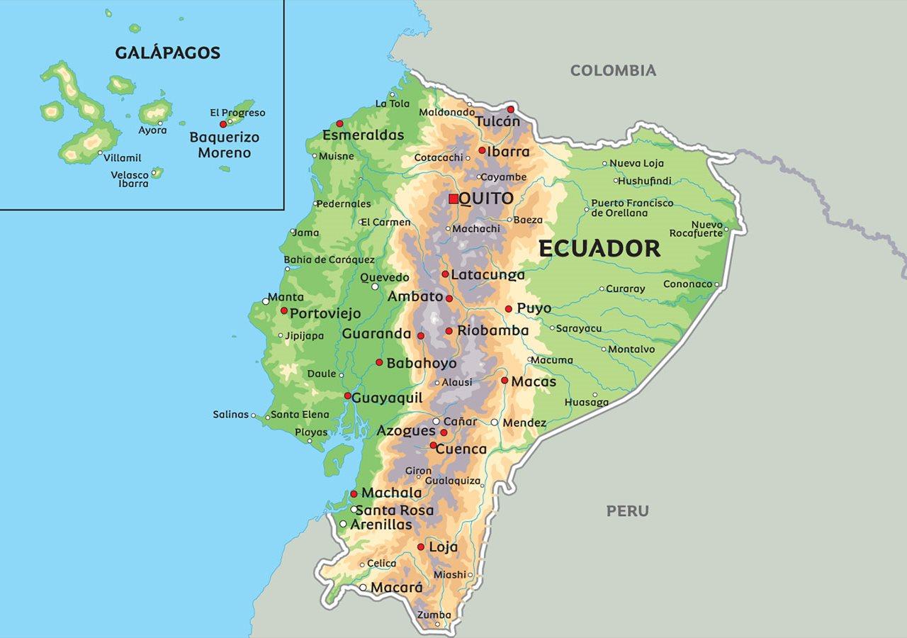 ecuador kart Kart Ecuador: Se blant anhovedstaden Quito og hovedstaden  ecuador kart