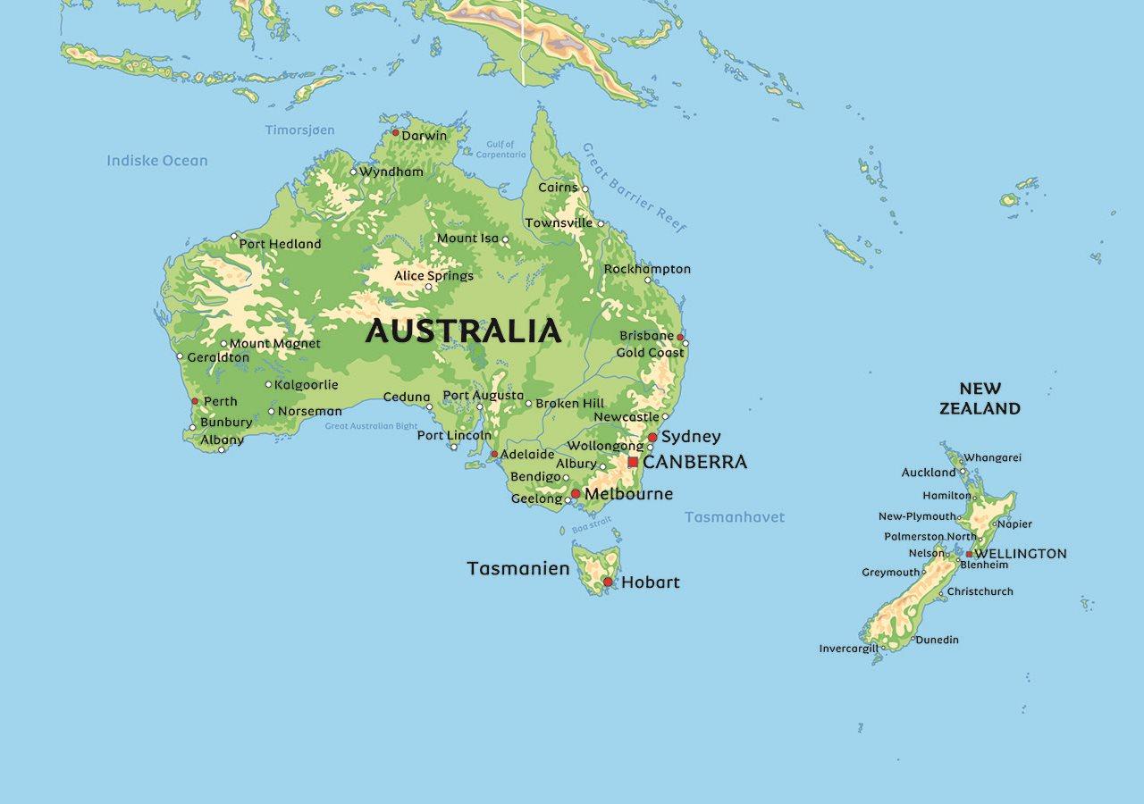 australia kart Kart Australia: se de største byene i Australia   Sydney, Perth og