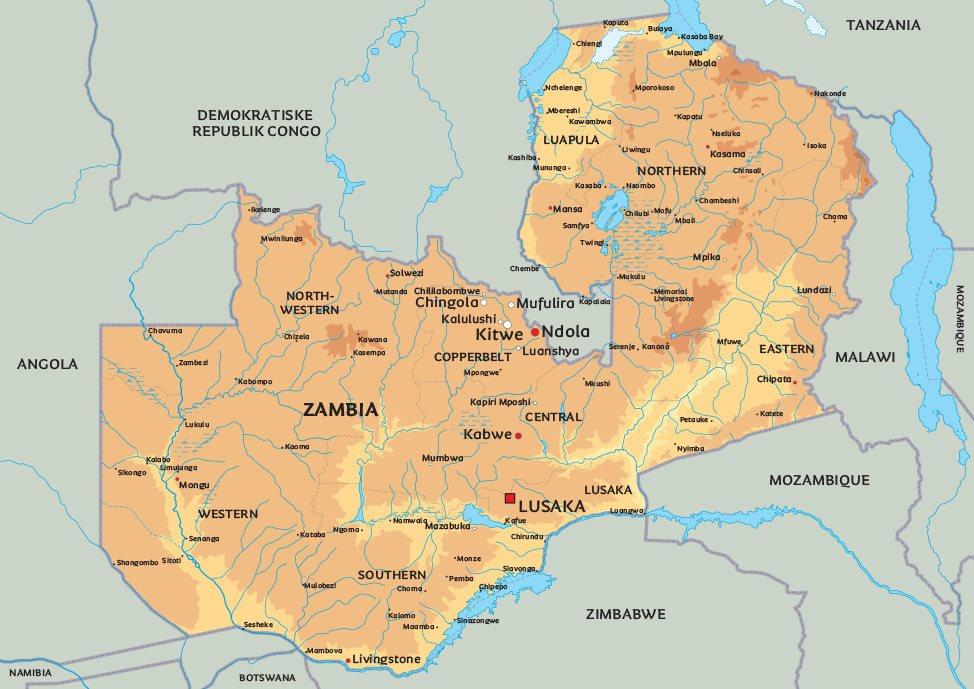kart zambia Kart Zambia: Se bl.a beliggenheten av hovedstaden Lusaka kart zambia
