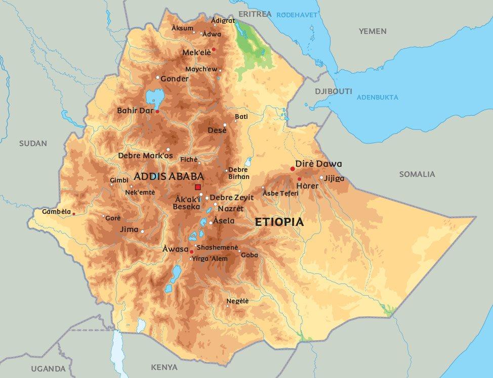 kart etiopia Kart Etiopia: Se bl.a. nærmere på hovedstaden Addis Abeba