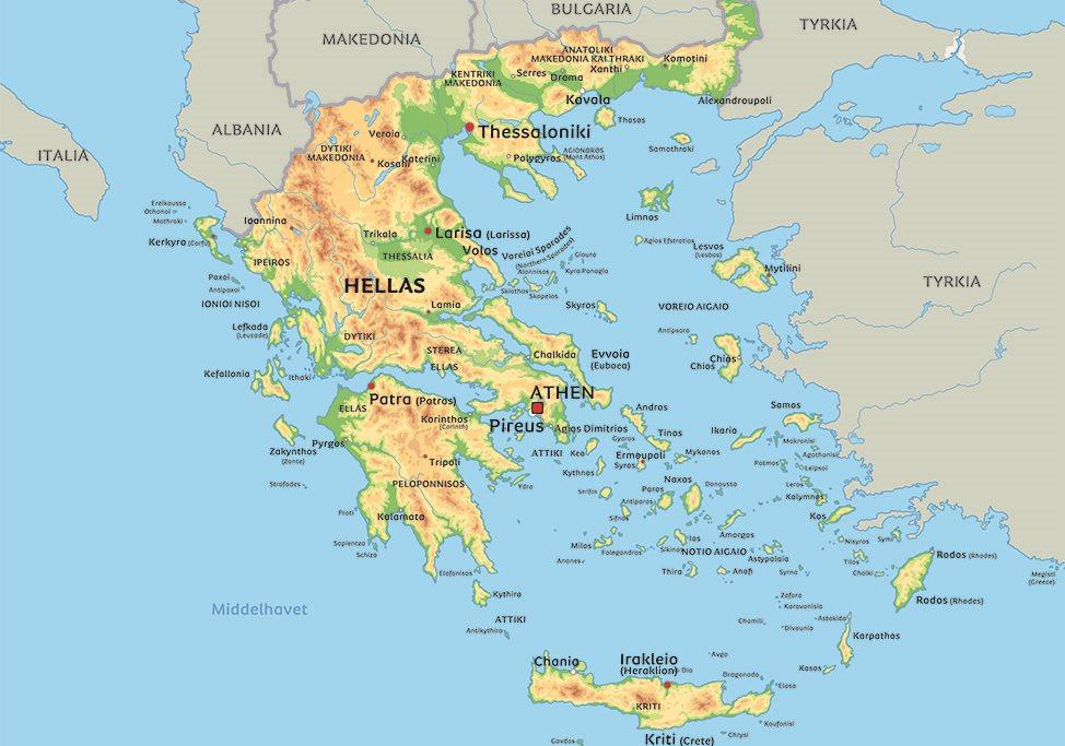 hellas kart Kart Hellas: se bla plasseringen av middelhavsøya Kreta