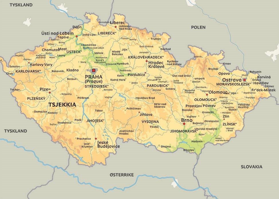 tsjekkia kart Kart Tsjekkia: Se bla. beliggenhet for hovedstaden Praha tsjekkia kart