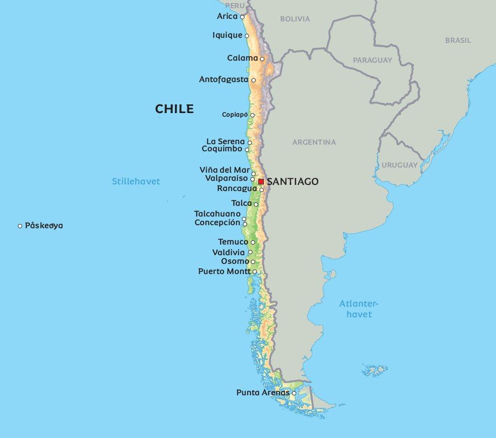 chile kart Kart Chile: Se de største byene i Chile, for eksempel Santiago chile kart