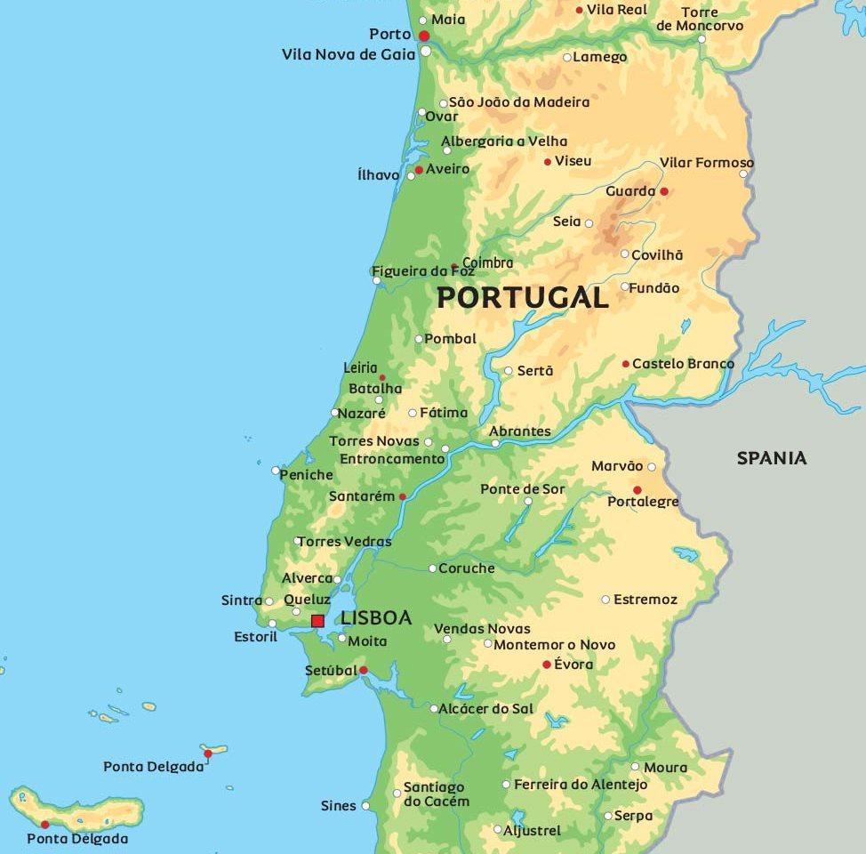 kart over portugal Kart Portugal: Se bla. beliggenheten for Porto og Lisboa kart over portugal