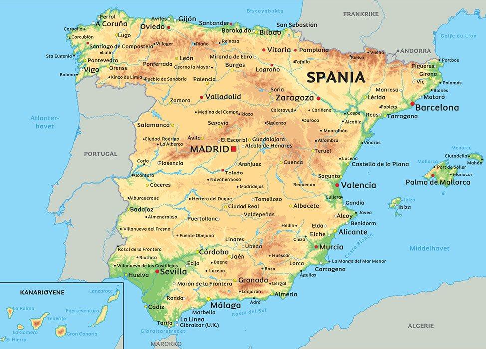 kart sør spania Kart Spania: Se blant anplasseringen av Madrid, Barcelona og  kart sør spania