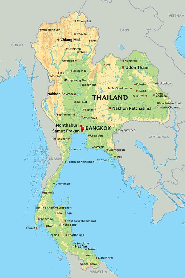 kart over thailand Thailand kart: se de største byer og øyer på kart   Bangkok, Chang  kart over thailand