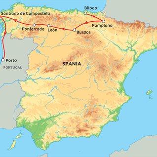 pilgrimsreise spania kart Langs pilegrimsruten til Santiago de Compostela pilgrimsreise spania kart