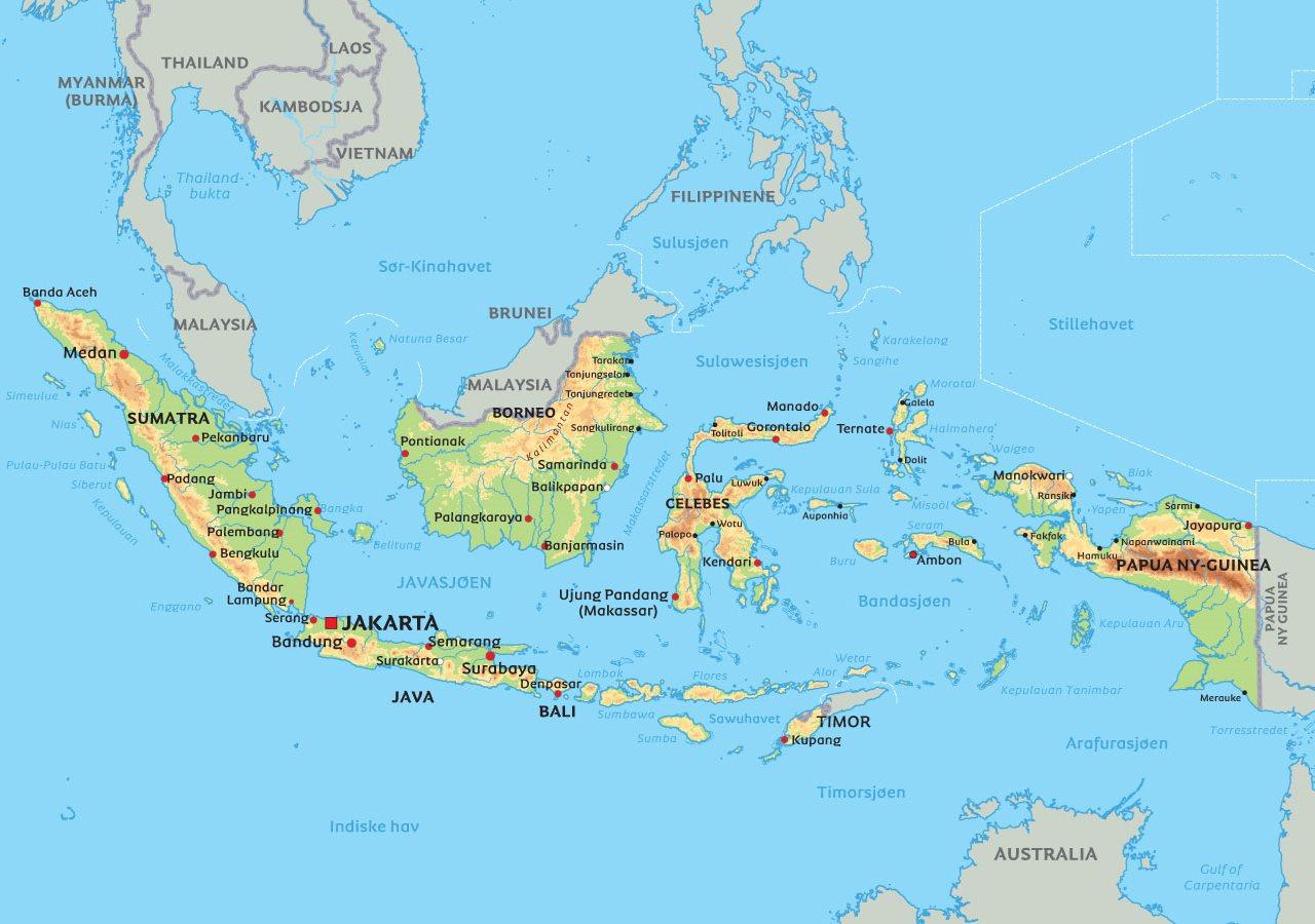 kart over bali Kart Indonesia: Se bla. beliggenheten til Jakarta og øyen Bali kart over bali