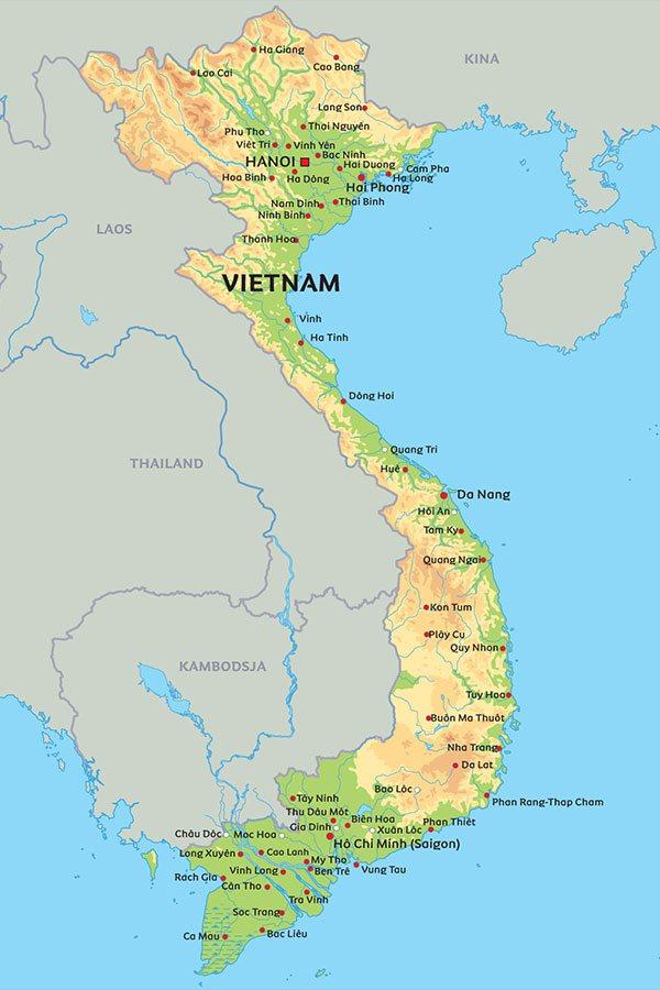 vietnam kart Kart Vietnam: Se de største byer i Vietnam på kart   Hanoi, Saigon  vietnam kart